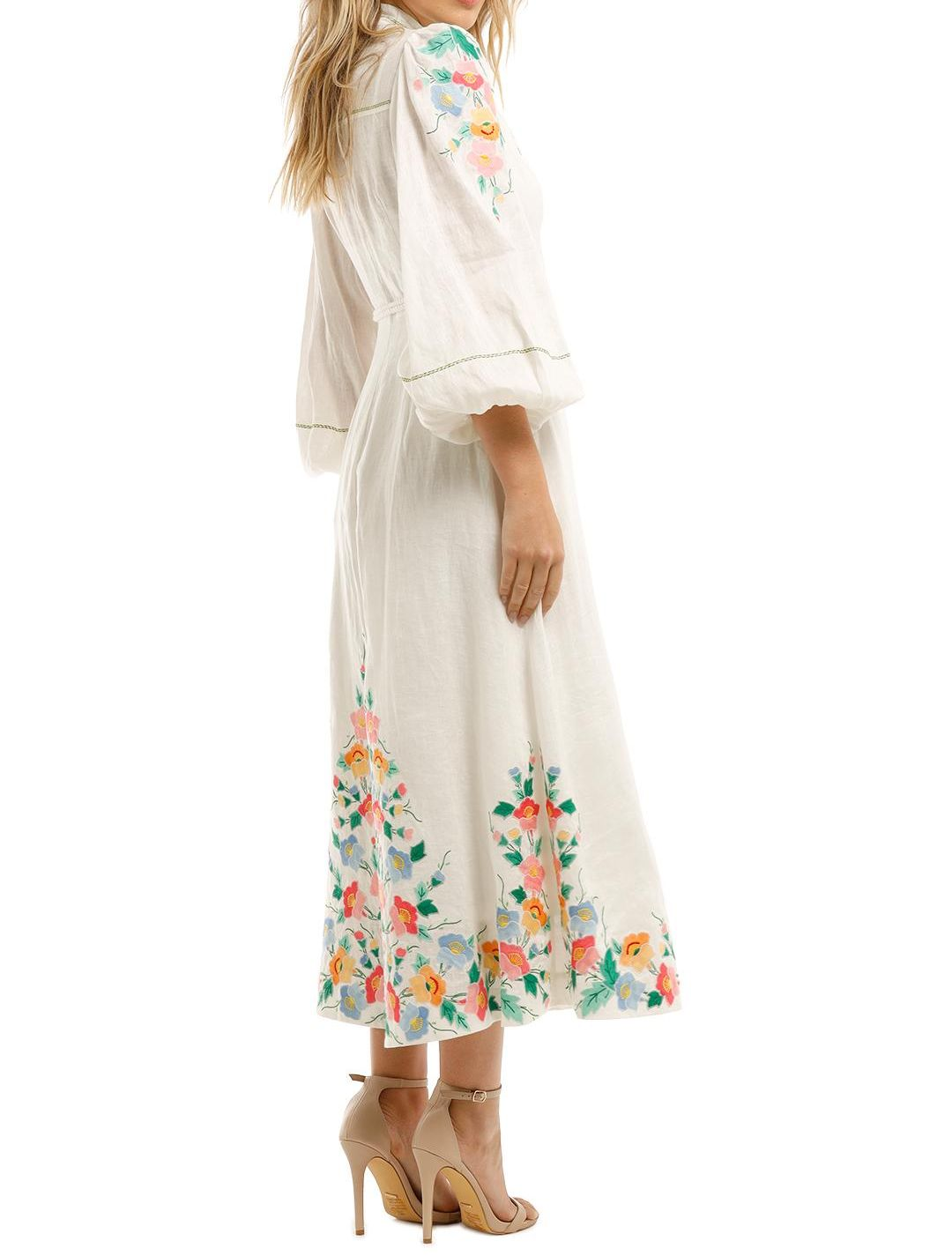 Zimmermann Fiesta Floral Applique Dress Long Sleeve