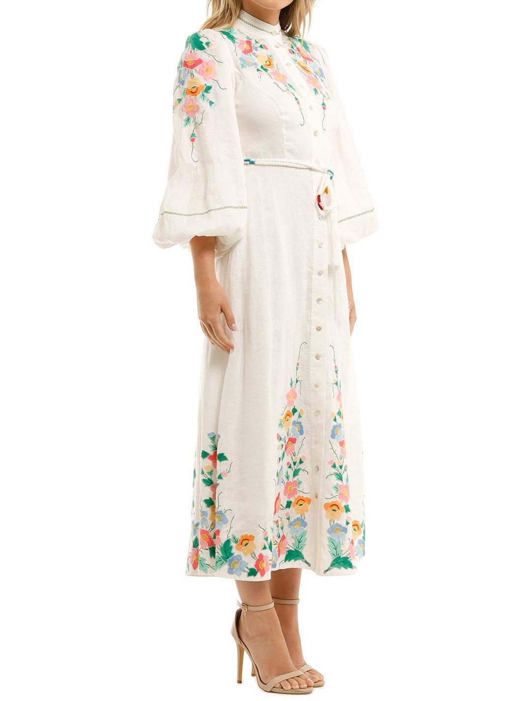 Zimmermann Fiesta Applique Long Dress Puff Sleeve Floral