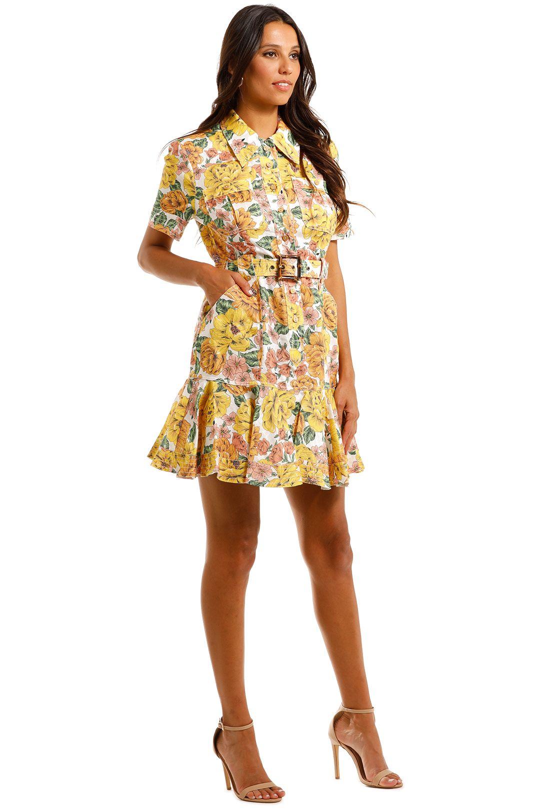 Zimmermann Poppy Belted Mini Shirt Dress