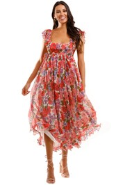 Zimmermann Poppy Frill Edge Midi Dress Silk Boho Dress