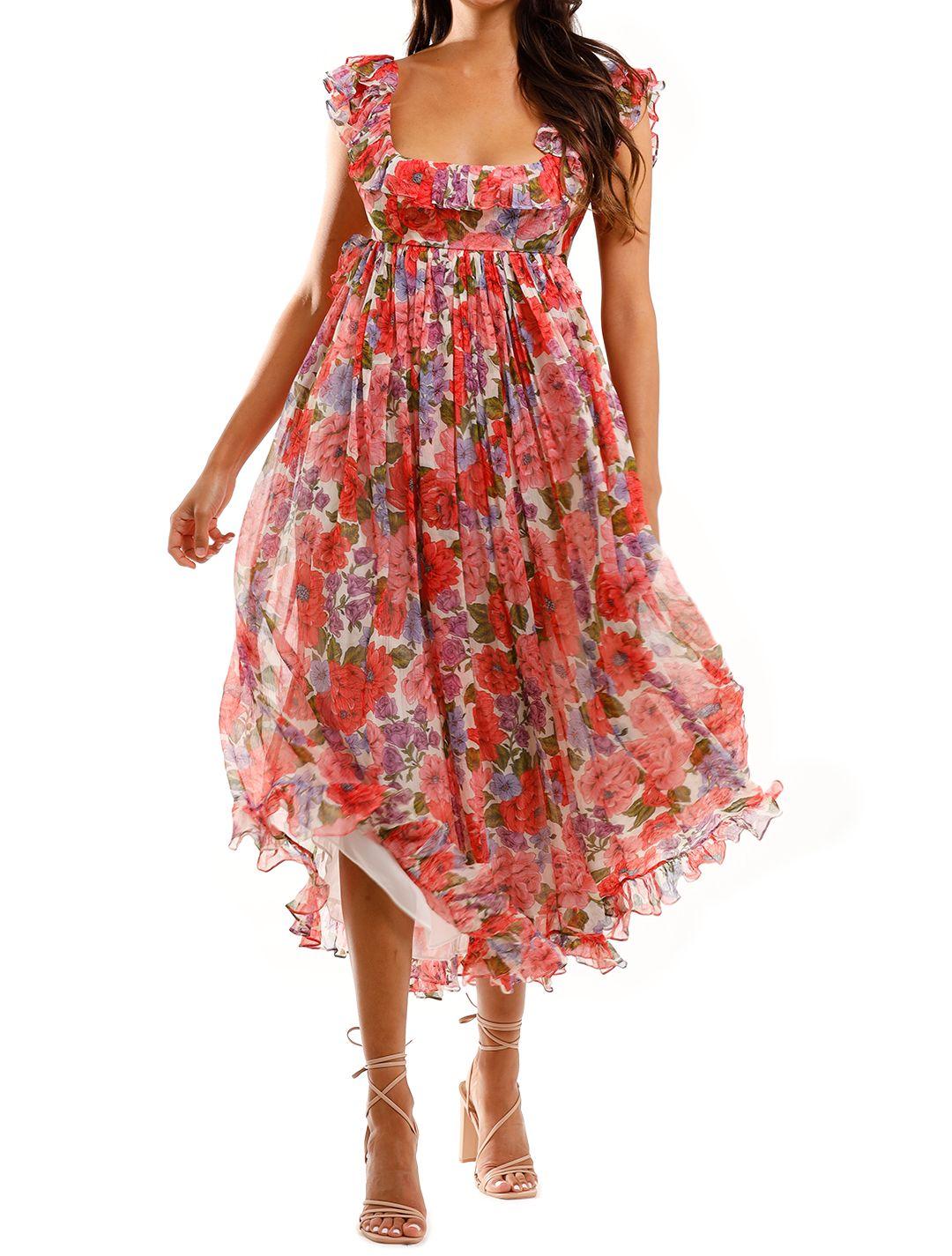 Zimmermann Poppy Frill Edge Midi Dress Silk Boho Dress