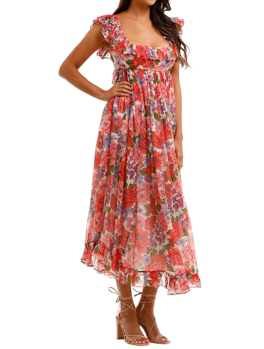 Zimmermann Poppy Frill Edge Midi Dress Ruffles Floral