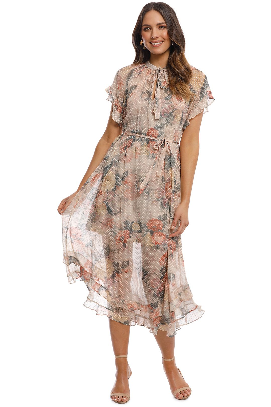 Zimmermann - Radiate Cascade Dress - Cream Floral - Front