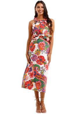 Zimmermann The Lovestruck Tie Back Midi Paisley Linen