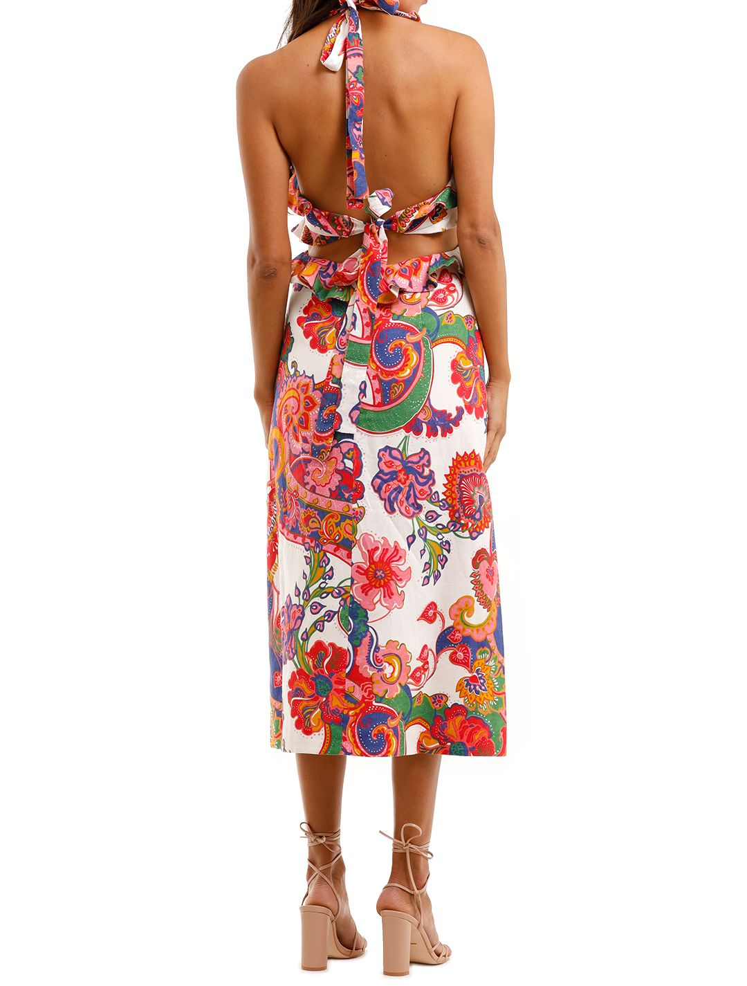 Zimmermann The Lovestruck Tie Back Midi Paisley Cut Out on Waist