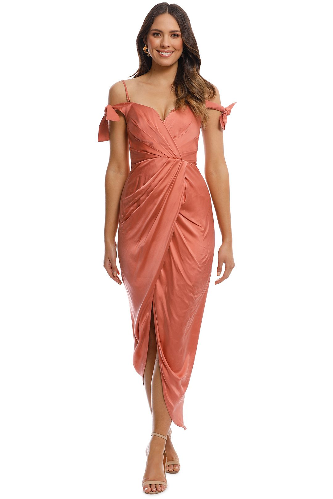 Zimmermann - Winsome Drape Cocktail Dress - Guava - Front