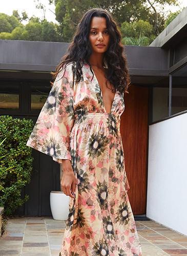 Model wearing floral MISA LA maxi dress