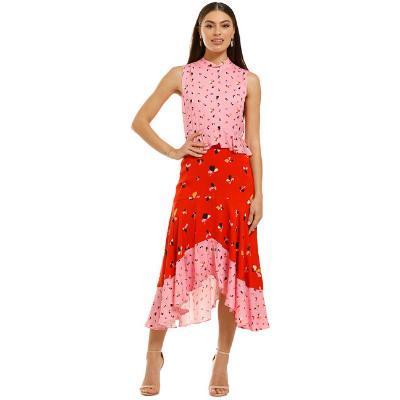 summer-wedding-daytime-rebecca-vallance-ruby-ruffle-dress-pink-red-front