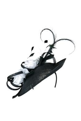 Morgan and Taylor - Cheryl Fascinator - Front - Black and White