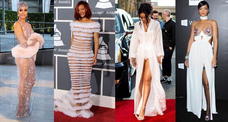 Rihanna birthday sheer gowns