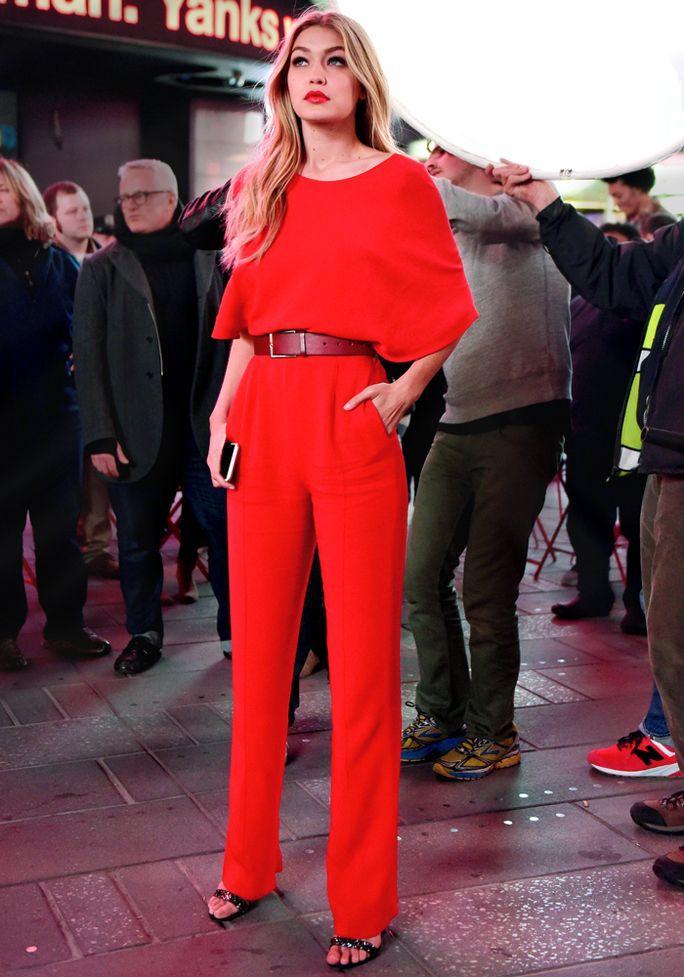 Gigi Hadid red jumpsuit