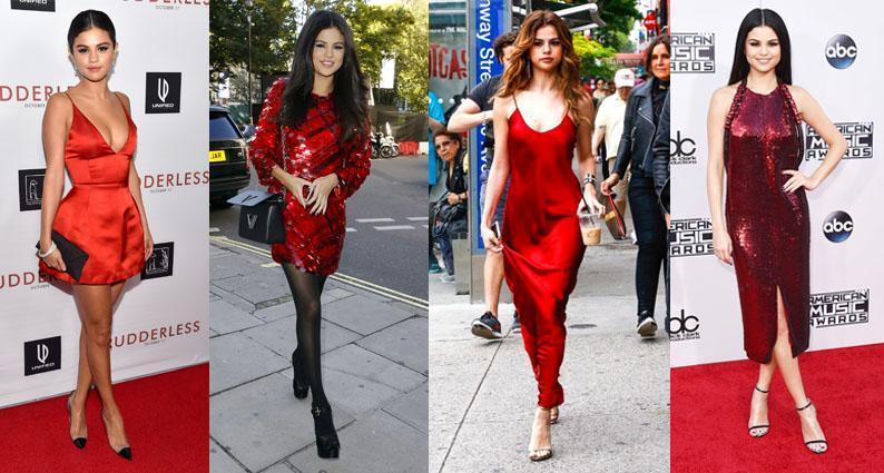Selena Gomez birthday red dresses