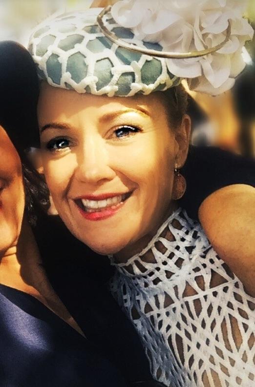 Stephanie with her white headpiece