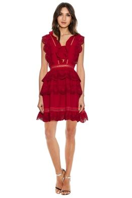 Self Portrait - Tiered broderie-anglaise mini dress - Front