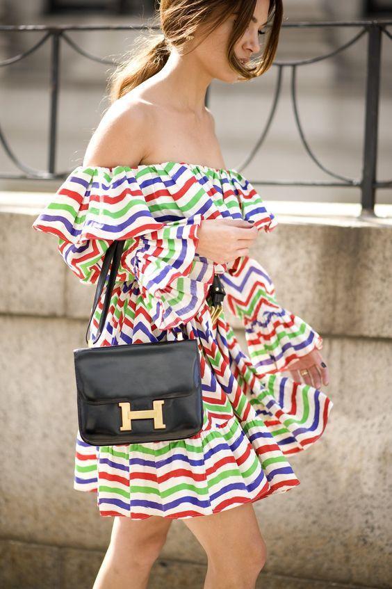 wedding shower casual stripe off-the-shoulder dress