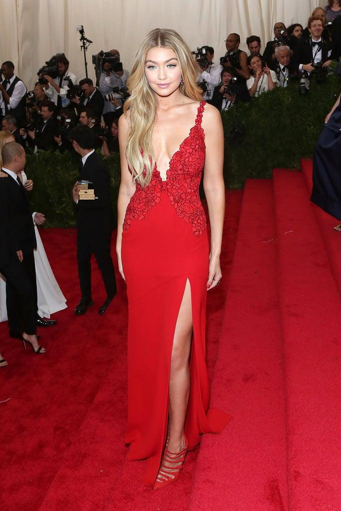 Gigi Hadid red formal gown