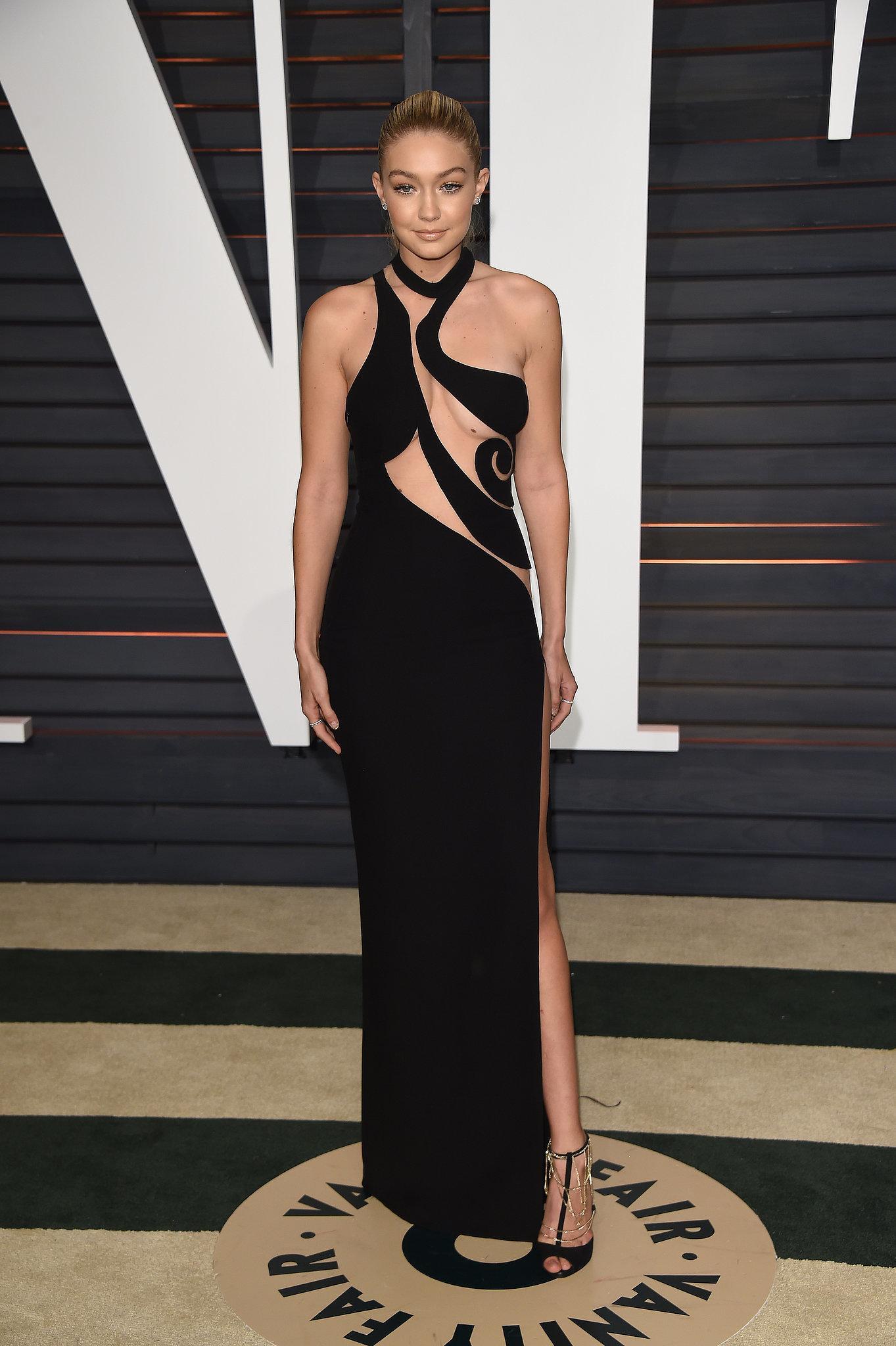 Gigi Hadid black cut out formal dress