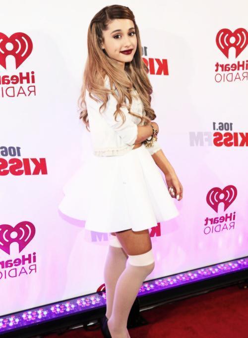 Ariana Grande socks-and-dress look