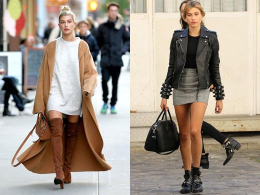 Hailey Baldwin autumn mini dress with boots