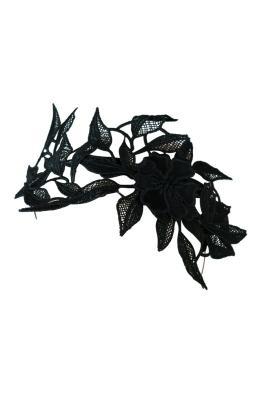 Morgan and Taylor - Shiloh Lace Applique Fascinator - Black - Side