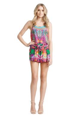 Camilla - Colour Weaving Playsuit - Front - Prints