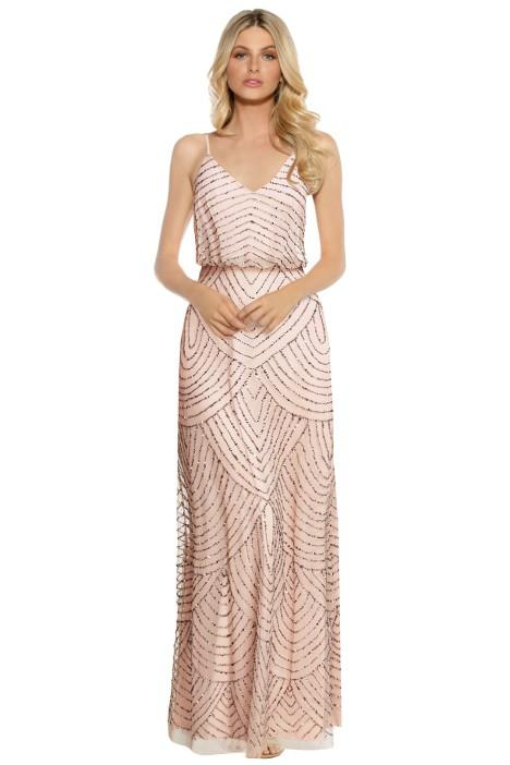 Adrianna Papell Art Deco Beaded Gown Taupe Pink Bridesmaid Styling