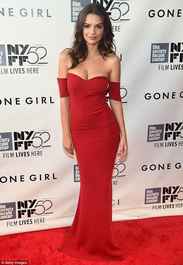 Emily Ratajkowski seductive off the shoulder red evening dress