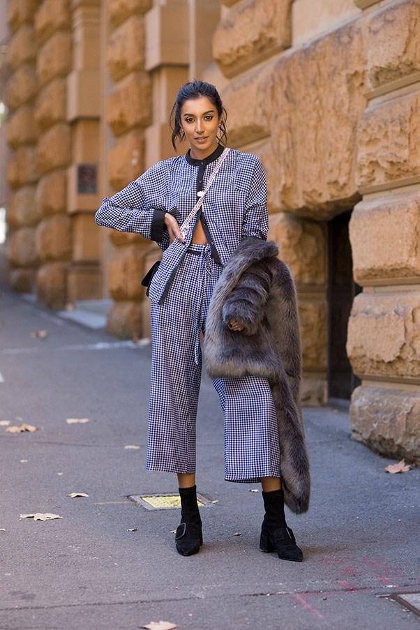 MBFWA grey faux fur street style