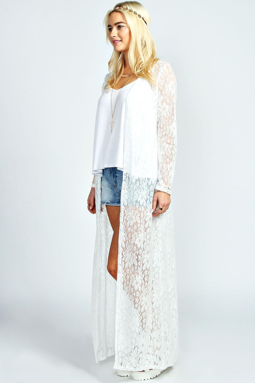 cream lace long kimono to wear over a sun dress