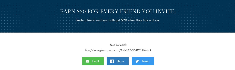 GlamCorner - Invite A Friend Landing