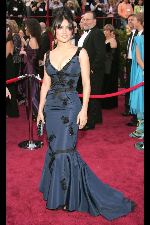 Salma Hayek Red Carpet Black Tie
