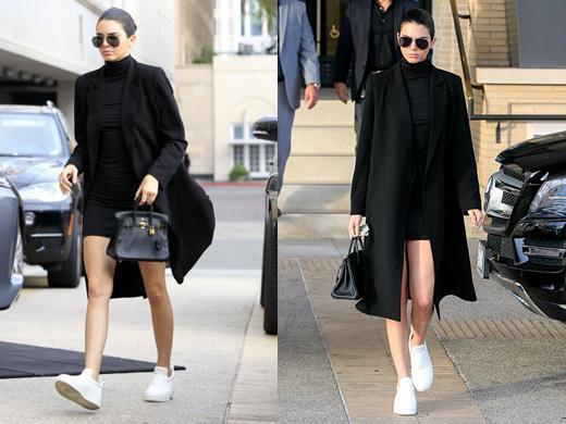 kendall jenner black coat layers autumn mini dress