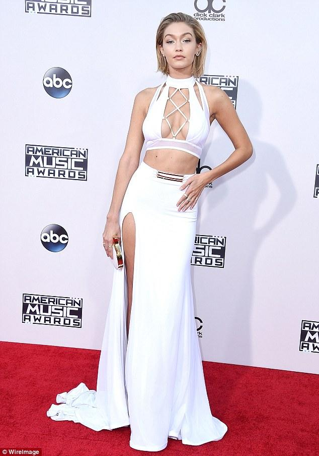 Gigi Hadid white cut-out sporty inspired dress