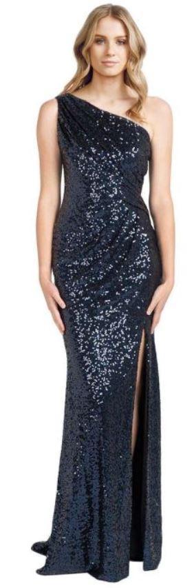Badgley Mischka Navy Sequin Evening Gown