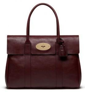 oxblood leather handbag