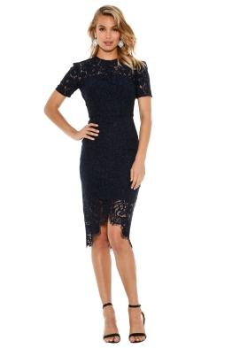 Lover - Oasis Fitted Midi Dress - Navy - Front