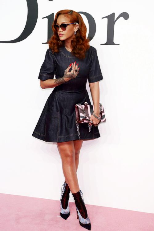 Rihanna Dior denim mini dress with mid-calf boots