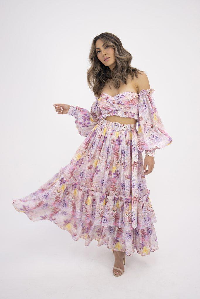 Model in Leo & Lin's Euphoria Silk Linen Bralette and Skirt Set