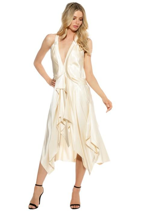 KITX fluid draped dress - dress-over-pants styling