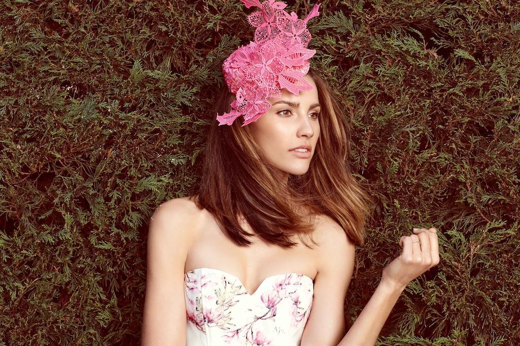 Rachael Finch pink fascinator for spring racing