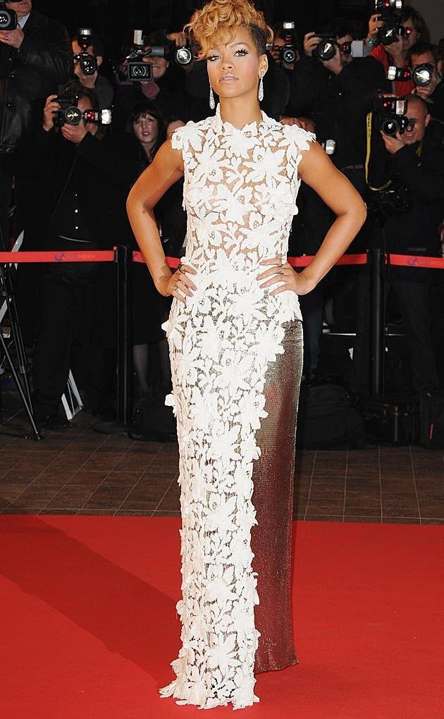 Rihanna in a white lace Jean Paul Gaultier dress
