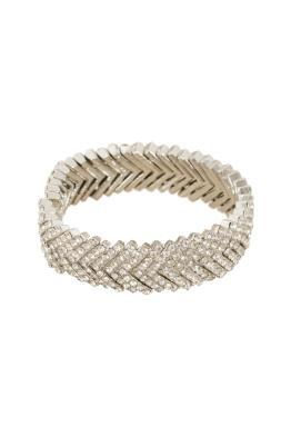 Adorne - Diamante Stacked V Cuff - Silver