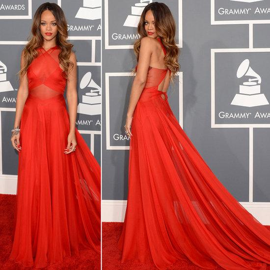 Rihanna floor sweeping red gown