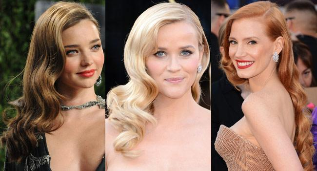 glamorous waves black tie hair trends at the OSCARS