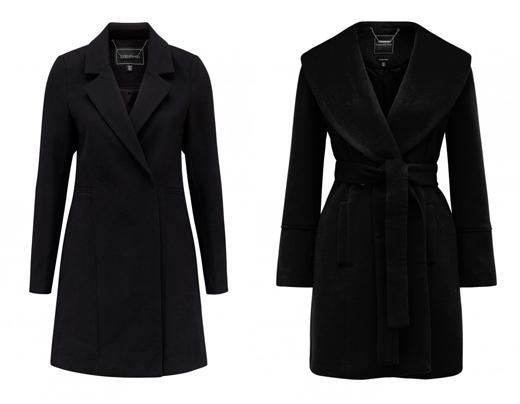 Black woolen coat for autumn to wear with mini dress