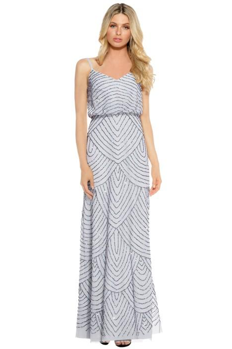 Adrianna Papell Art Deco Beaded Gown In Dusty Blue Bridesmaid Styling