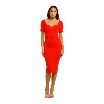 pasduchas-cascade-sleeve-midi-dress-red-front