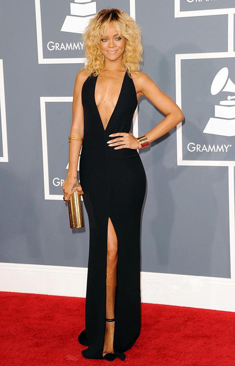 Plunging neckline black dress worn by Rihanna