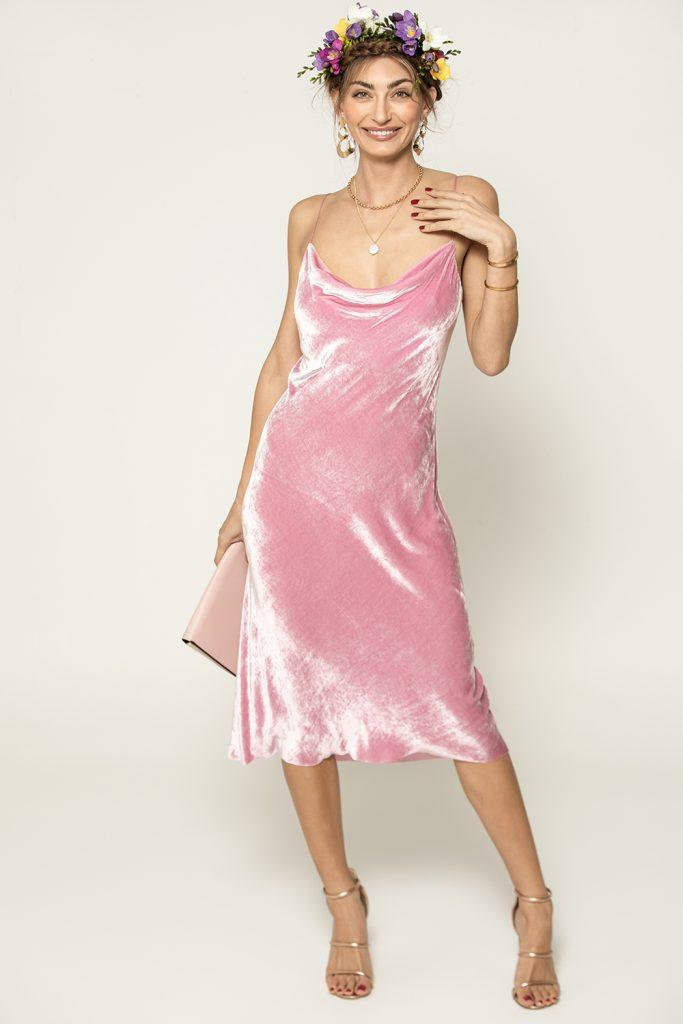 model-wearing-bec-and-bridge-velveteen-candy-slip-dress-pink