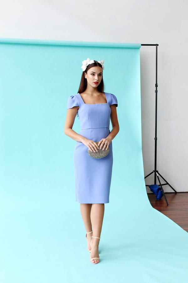 Monika Radulovic wearing our Yeojin Bae Double Crepe Aimee Dress in Sky Blue